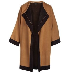 Camel Contrast Trim Open Collared Cardigan Duster